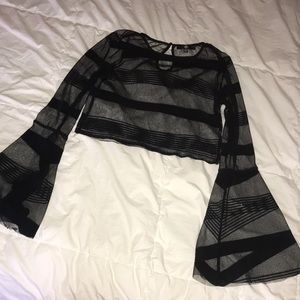 MissGuided mesh flare sleeve crop top